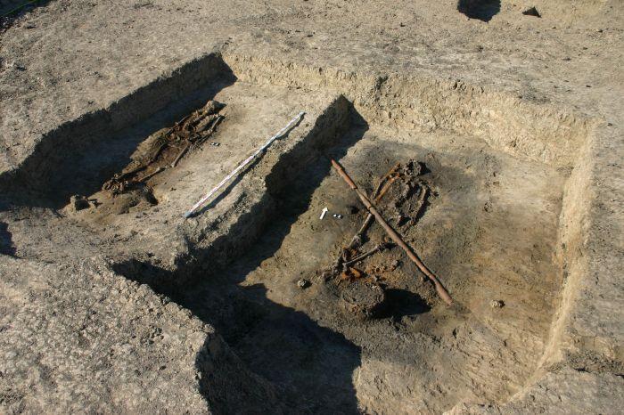 Dwa z grobów wojowników w czasie badań archeologów w Ciepłem. Fot. Z. Ratajczyk