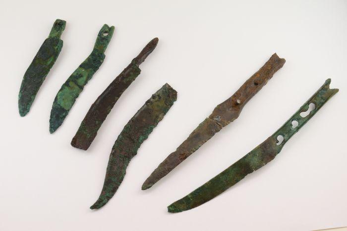 Noże z brązu odkryte w bagnie, fot. A. Rausch/Novetus.