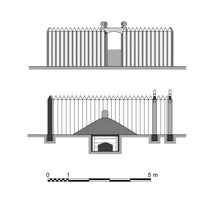 Rekonstrukcja grobu-mauzoleum z Bodzi, rys. W. Filipowiak