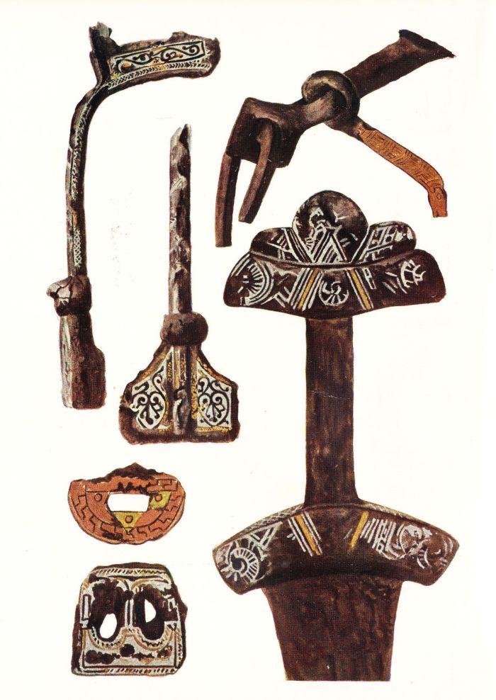 Wyposażenie z jednego z grobów wojowników. Ten pochówek badany był w 1900 r. Wg La Baume