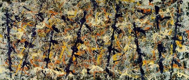 "Obraz Jacksona Pollocka ""Bluepoles"". Źródło: Wikipedia"