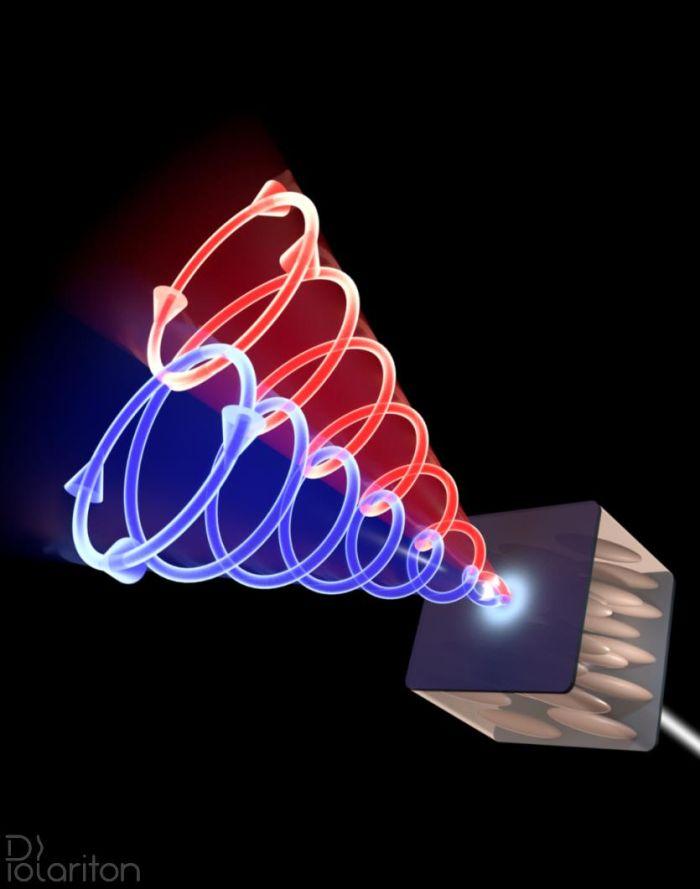 Schemat doświadczenia – polaryzacja kołowa światła (zaznaczona czerwonym i niebieskim kolorem) przechodzącego przez wnękę wypełnioną ciekłym kryształem zależy od kierunku propagacji. (rys. Mateusz Król)
